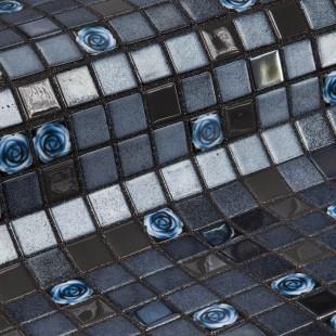 Стеклянная облицовочная мозаика модели Roses